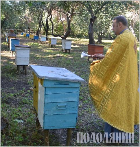 Отець Юрій благословив пасіку і посвятив кожну бджолосім'ю