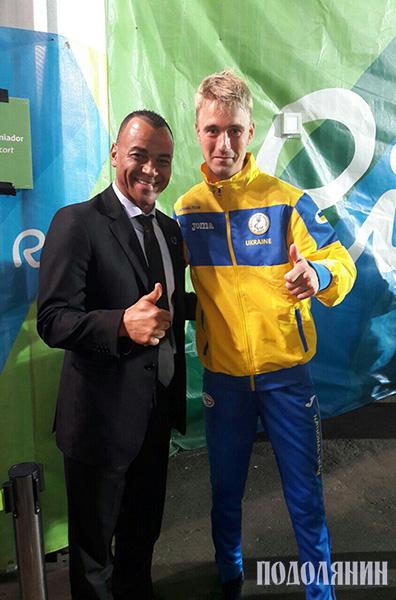 Віталій Трушев із легендарним Кафу - рекордсменом збірної Бразилії за кількістю проведених ігор  і дворазовим чемпіоном світу