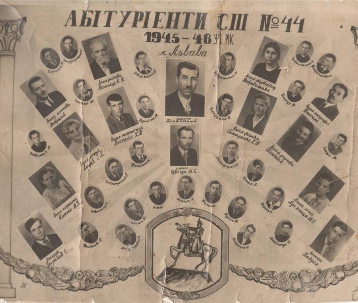 Віньєтка випускників (абітурієнтів) 1946 року середньої школи №44 Львова.  Під літерами «БIТ» заголовку - Євген Козинець