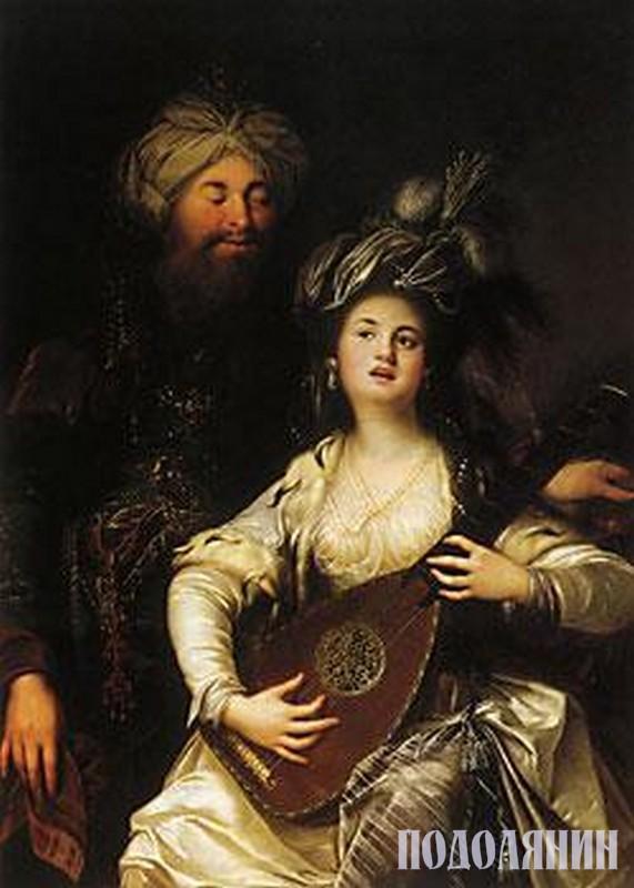 «Роксолана та султан».  Картина Карла Антона ХАКЕЛЯ