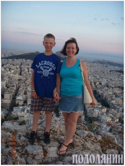 Із сином Сергієм під час літніх канікул  в Афінах