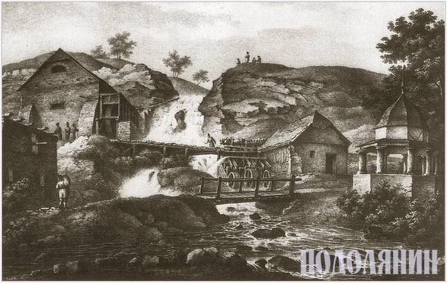 Водяні млини на Поділлі літографія Наполена Орди