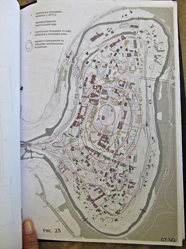 Імовірна схема трипільського поселення на території Старого міста