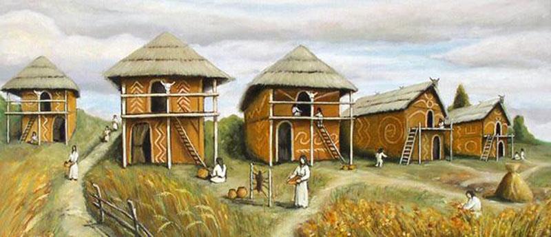 Трипільське поселення (реконструкція)