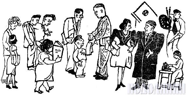 Дружній шарж «Редакція «Подолянина» за роботою»