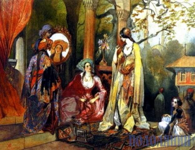Дружини султана Гирея. Ілюстрація до поеми О.С.Пушкіна «Бахчисарайський фонтан». 1837. Акварель