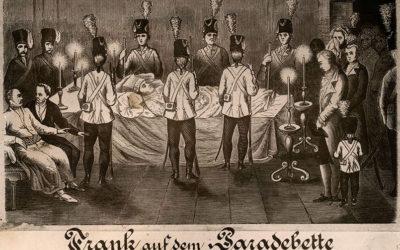 Яків Франк на смертному ложі, гравюра