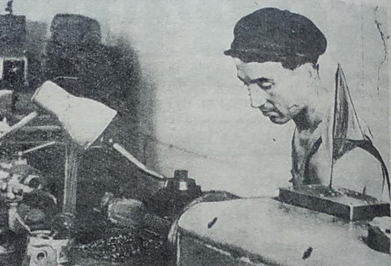 Токар ремонтно-механічного цеху Фогельман, 1959 рік. Фото Андрія Герасимчука