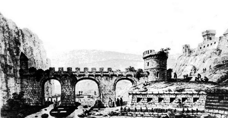 Первісний вигляд Замкового мосту в Кам'янці-Подільському на гравюрі Жана Анрі Мюнца