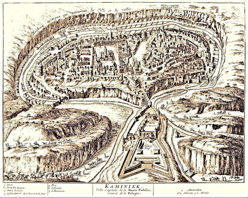 Кам'янець - столиця Поділля, 1729 р., авторство П'єр ван дер Аа, місце збереження: «Le galerie agreable du monde» (v.20)