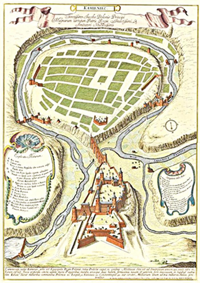 Кам'янець, 1684 р., авторство Джованні Джакомо Россі (псевдонім Йоганн Якуб де Рубейс), мідьорит, місце збереження - Рим