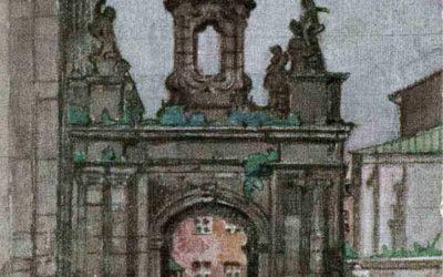 Кам'янець-Подільськ. Кафедральна брама. Художник Георгій Лукомський, листівка, 1909 рік
