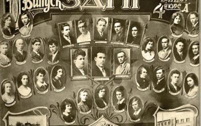 Перший випуск (1930-1934) мовно-літературного відділення Запорізького державного педагогічного інституту. Серед викладачів - другий ліворуч у першому ряду Остап Троцюк