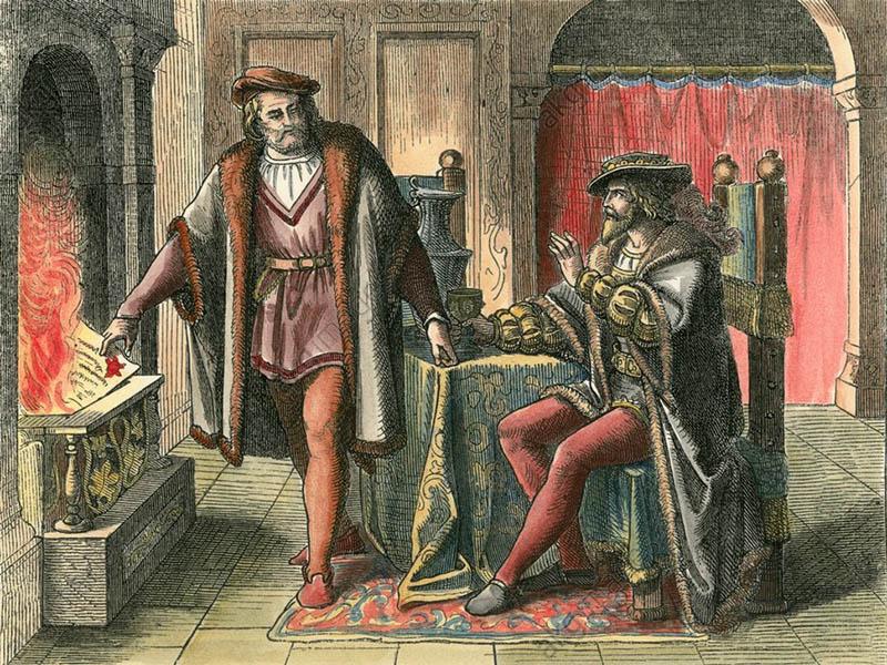 «Фуггер кидає боргову розписку імператора Карла V у вогонь». Близько 1860 р., за роботою Фреско 1825/1830 рр. Гофгартенаркаден у Мюнхені.